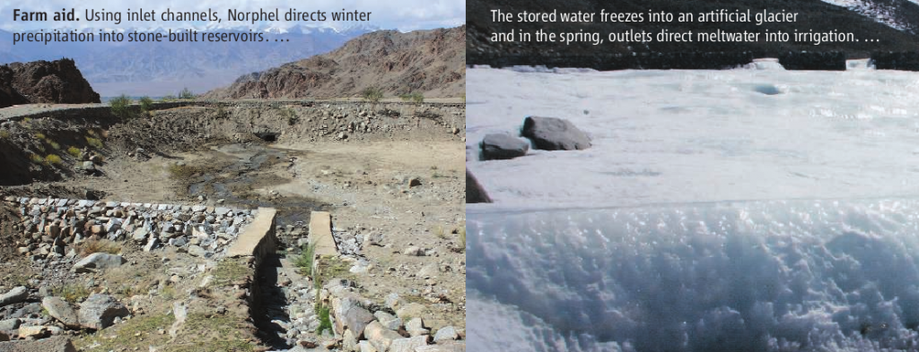 The photographs show the site of an artificial glacier in summer (left) and in winter (right). Source: Science 30 October 2009: Vol. 326. no. 5953, pp. 659 - 661