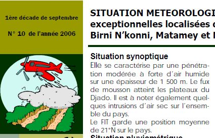 """A weather monitoring bulletin fron Niger, showing the """"little red plane seeding clouds"""""""