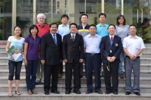 Some prominent visitors at CAS/RADI on 20130704, from left to right. First row: Dr Nana Yann, assistant professor; Dr Zeng Yuan, assistant professor; Dr Thanya Kiatiwat, Associate Professor, Dean of Faculty of Engineering, Kasetsart University, Thailand; Mr Chaiyan Peungkiatpairote, Permanent Secretary, Ministry of Information and Communication Technology, Thailand; Prof Wu Bingfang (Head of CropWatch Unit); Dr Mongkol Raksapatcharawong, Associate Professor & Lecturer of Faculty of Engineering at Kasetsart University; Dr Meng Jihua, assistant professor. Second row: Dr René Gommes, visiting professor; Dr Chang Sheng, assistant professor; Mr Zhang Miao, PhD student; Dr Zeng Hongwei, assistant professor; Jiratiwan Kruasilp (Ink). PhD student.