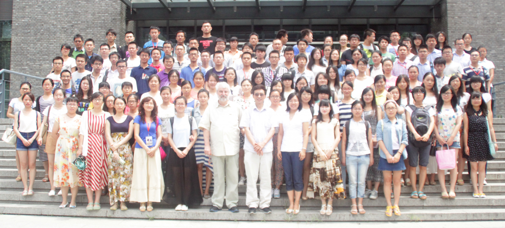 20140708: Lecture on Crop Forecasting and Remote Sensing Inputs at Peking University at a Summer Course on climate change. First row, left of the blogger:  Prof. Qiming Qin, course organiser, and Zhang Ning (ydia)