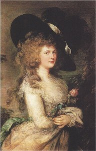 Giorgiana, Duchess if Devonshire, with one of her world-famous hats! (Gainsborough) Source: http://www.period-art.com/userimages/Thomas_Gainsborough_Lady_Georgiana_Cavendish.jpg