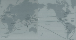 Trade routes in the 17th century. Note routes through southern Indian Ocean and across the Pacific (e.g. to carry South American silver to China).
