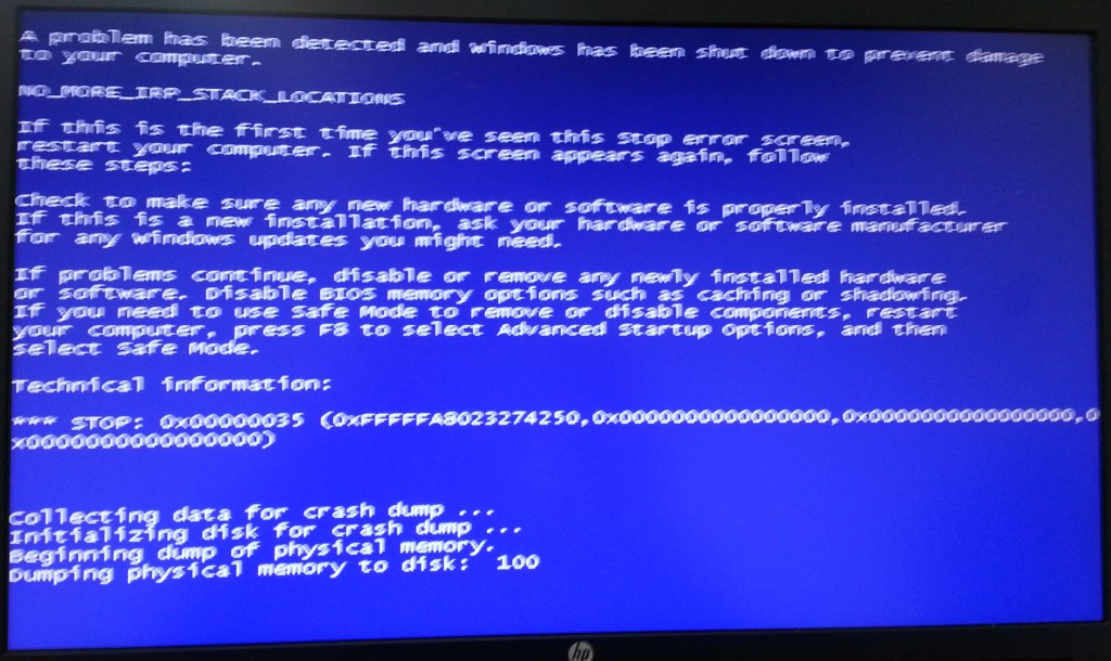 BSOD in a bad photograph taken with my cell phone